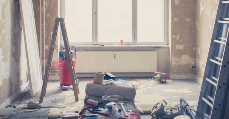 unrenovierte Wohnung, Zimmer vor Renovierung